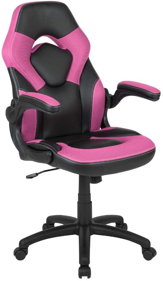 Flash Furniture X10 Gaming Chair Racing Office Ergonomic Computer PC Adjustable Swivel Chair with Flip-up Arms, Pink/Black Leather Soft