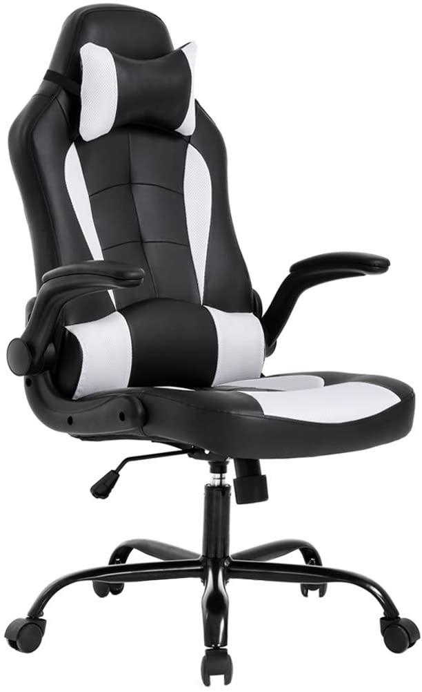 BestOffice PC Gaming Chair Ergonomic Office Chair Desk Chair with Lumbar Support Flip-Up Arms Headrest PU Leather Executive High Back Computer Chair for Adults Women Men, Black, and White