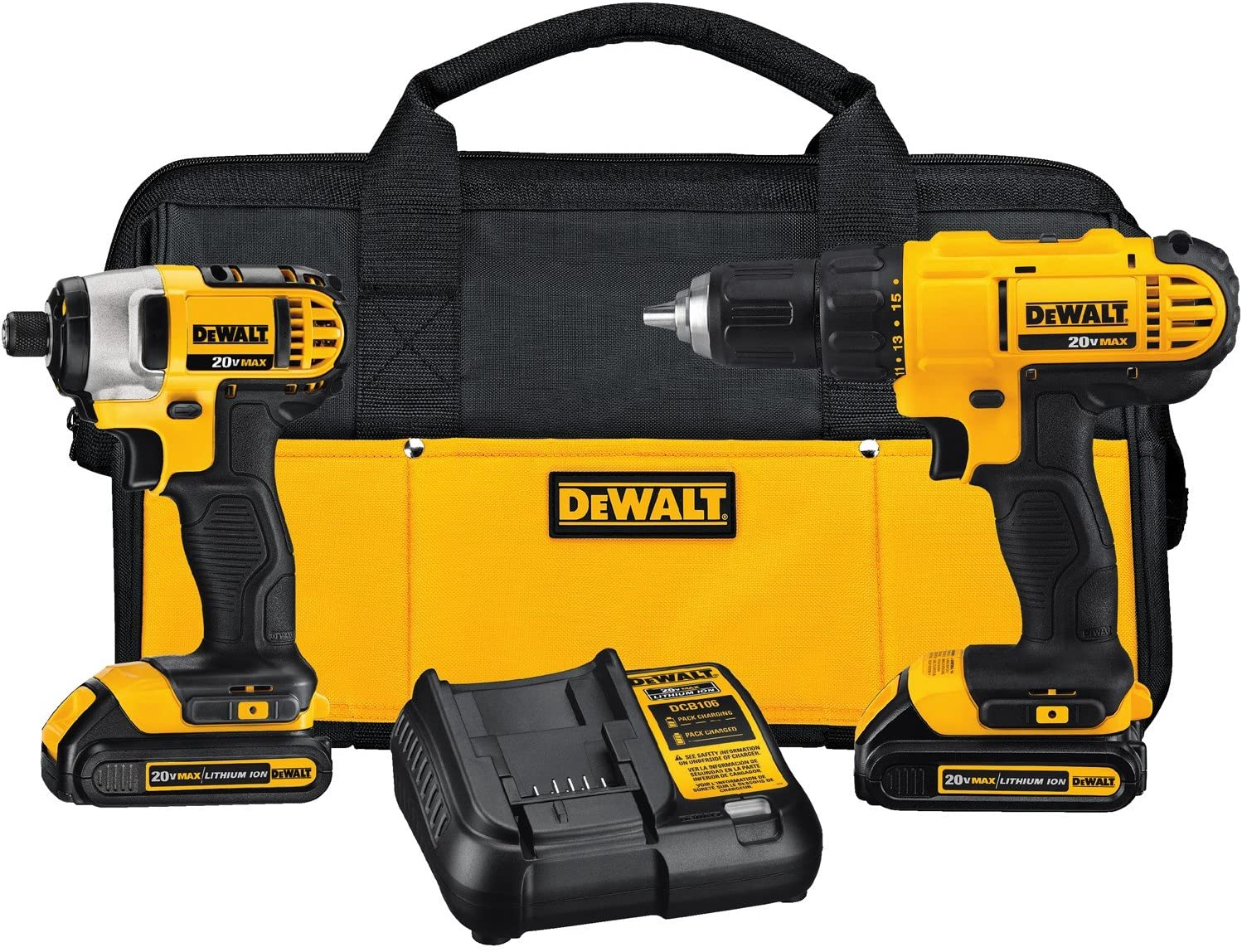 """Even the DEWALT DCK240C2 20v Lithium Drill Driver/Impact Combo package (1.5Ah) is included in this DCF885 20V MAX lithium-ion 1/4 in. streamlined impression Driver (5.55"""" leading to rear ) and lightweight (2.8 pounds ) ), built to squeeze in tight locations. This device provides one-handed loading 1/4"""" hex toss takes inch"""" piece suggestions, and also has a three LED lighting ring using 20-minute wait to give reliability minus shadows. A belt hook can be contained for portability onto the worksite. Even the DCD771C2 20V MAX lithium-ion Compact Drill/Driver can also be lightweight and compact, built to squeeze into limited locations. This specific drill/driver provides a superior end engine which produces 300 devices liter outside (UWO) of electrical strength potential, allowing to get a broad scope of the software. This machine also has a highspeed transmission, which produces two rates (0-450 along with 1,500 rpm) to get a wide selection of drilling and fastening software. Even the 1/2"""" one sleeve ratcheting chuck offers tight little grasping power, and also, the ergonomic management produces control and comfort. Both programs are a part of this DEWALT 20-Volt MAX platform and so, therefore, are harmonious with 20-Volt MAX batteries, accessories, and chargers. Features: (inch ) DCF885 20v MAX Lithium impression Notebook, also (inch ) DCD771 20v MAX Lithium Drill/Driver, (two ) 20-Volt MAX lithium-ion 1.5Ah battery packs, (inch ) 20-Volt MAX charger and also builder tote."""